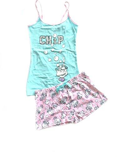 Ladies Girls Beauty and The Beast PJ Set Pyjama Shorts & Top