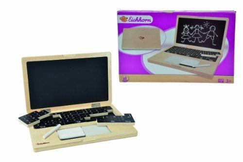 Preisvergleich Produktbild Eichhorn 100002575 - Holzlaptop mit Puzzle, 14-teilig, Bildschirmfläche zum Beschreiben mit Kreide - Tastatur bestehend aus 6 Puzzleteilen - 32x20 cm, inkl. 6 Kreiden und Schwamm