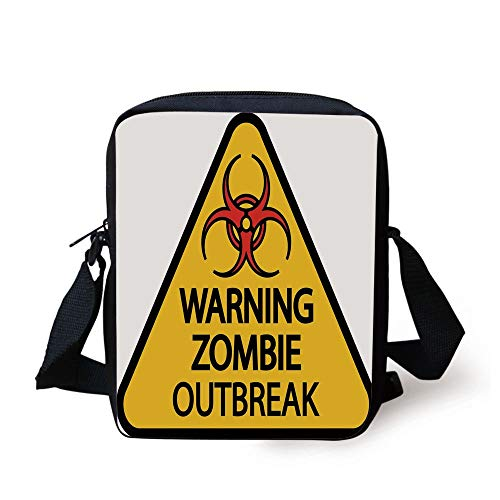 Zombie Outbreak Sign Cemetery Infection Halloween Graphic Decorative,Earth Yellow Red Black Print Kids Crossbody Messenger Bag Purse ()