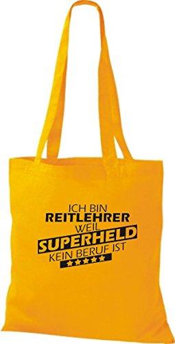 Shirtstown Stoffbeutel Ich bin Reitlehrer, weil Superheld kein Beruf ist gelb