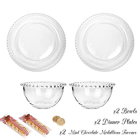 Bella Perle Dinner Party Service for Two - Two settings of Dinner Plate and Bowl - Gift Set with Two 30g Packages of Luxury Mint Chocolate Medallions - High Quality Luxury Glassware with Beaded Edge - As Used By Nigella Lawson - Perfect for Christmas/Boxing Day/New Years Dinner Party Setting for Two -