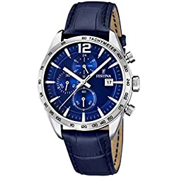 Festina Men's Quartz Watch with Blue Dial Chronograph Display and Blue Leather Strap F16760/3