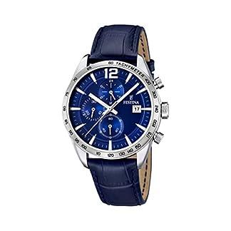 University Sports Press F16760/3 – Reloj de Cuarzo para Hombre, con Correa de Cuero, Color Azul