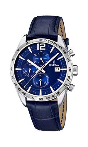 Festina Herren-Armbanduhr XL Chronograph Quarz Leder F16760/3