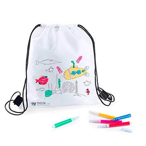 DISOK - Lote 20 Mochilas Petate para Colorear + Rotuladores - Regalos Cumpleaños, Comuniones, Colegios, Niños, Infantiles