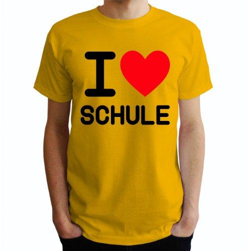 I love Schule Herren T-Shirt Gelb