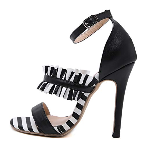 Women es High Heels, 2019 Pointed European and American Style Open Toe Buckle with High Heel Ladies Sandals Open Toe Buckle Black/Party and Party/Party und Party,a,37 Buckle Open Toe Sandal