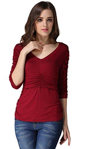 Amstt donne 3/4Manica increspato vita elegante scollo a V casual camicette tops Shirts Wine Wed