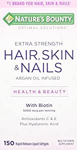 Nature's Bounty Extra Strength Hair Skin Nails, 150 Count, 150 Count (Pack of 1)