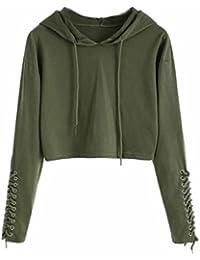 04ae6936c0 Hunputa Women s Lace up Bandage Hoodie Short Sweatshirt Jumper Sweater  Pullover Crop Tops Blouse