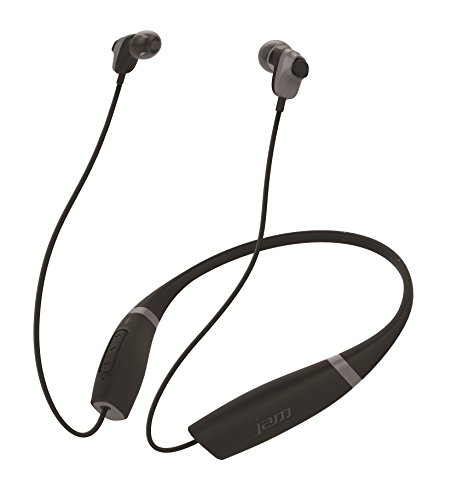 Jam Audio Comfort – Bluetooth Headphones, In-Ear Wireless Earbuds, Sweat Resistant, Comfortable Collar, Wear All Day, Hands-Free Calling + Up to 10hrs Play Time Battery Life, Perfect for Sport - Black Best Price and Cheapest
