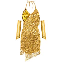 ranrann Asymétrique Robe Danse Latine Femme Frangé Paillette Robe Danse Rumba Salsa Samba Halter Neck Robe Strass Manchon Bras Robe Danse Contemporaine Costume Spectacle Or S/XL