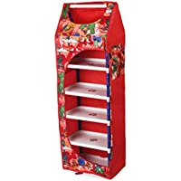 Ebee Collapsible Wardrobe Without Wheels (Red, 6 Shelves)