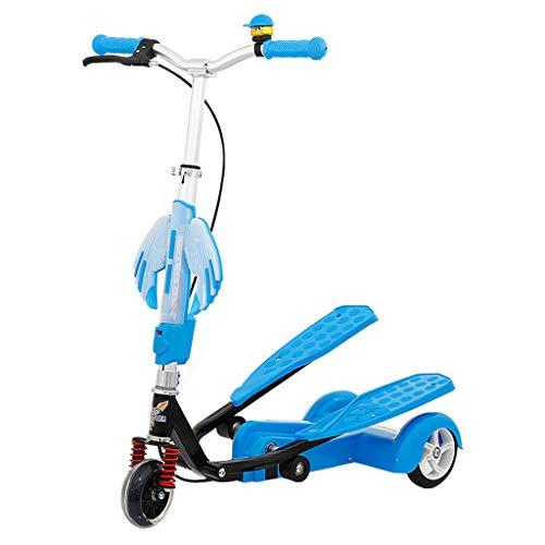 HYE-ROLLER Kinder Pedaling Stepper Scooter 3 höhenverstellbar Bike Jungen und Mädchen Scooter 4-15 Jahre - von beweglicher im Freien Spielzeug - Bis zu 80 Pfund (blau)