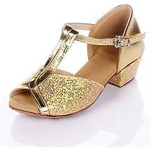 Silencio @ polipiel/Kids 'Latina/Salón de baile zapatos de baile de las mujeres Chunky talón plata/oro, dorado, US6.5-7 / EU37 / UK4.5-5 / CN37