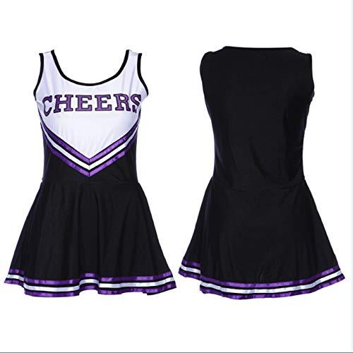 Yamyannie Cheerleader Halloween Kostüm Outfit Uniform High School Sport Musical Kostüm mit Pom Poms (Farbe : Schwarz, Größe : XS)