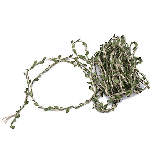 Bigsweety 10 Meter Hanfseil Grüne Blätter Band Dekoration DIY Hochzeit Zuhause Stoff Gewebt Jute Garn Geschenk Verpackung