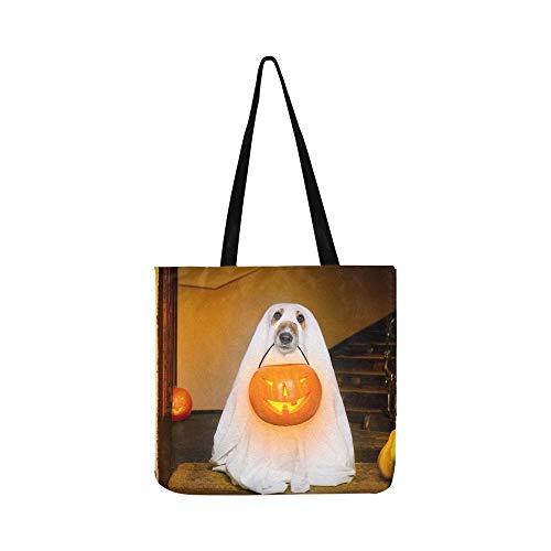Hund Sit Ghost Halloween Haustür SHAOKAO SHAOKAO Canvas Tote Handtasche Schultertasche Crossbody Taschen Geldbörsen für Männer und Frauen ()