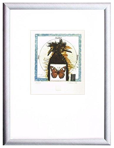 Sternzeichen Zwilling Bild - Bodo W. Klös - Farbradierung - Auflage 200, Bildgrösse 15 x 15 cm. gedruckt auf 350 gr. Hahnemühle Bütten 28 x 40 cm inkl. Rahmen, Größe 32 x 42 cm