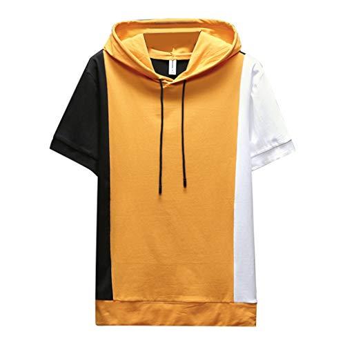 Herren Sommer Kurzarm Shirt Hemd Tops Eaylis Nahtfarbenes Slim Top Mit Kapuze 4XL