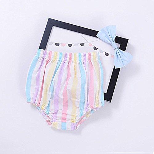 by Mädchen Bunt gestreift Prinzessin Kleid Regenbogen Einhorn Shorts Strampler Outfits, Shorts, Multi, 80 (6-12 Months) ()