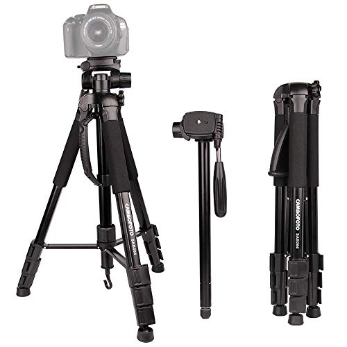Trípode para cámara-CAMBOFOTO 70'Trípode/monopie -Trípode de Viaje Ligero con Cabezal panorámico de 3 vías, Placa de liberación rápida y Bolsa de Viaje para cámara Digital(Carga: 4 kg, Negro)