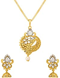 Voylla Traditional Alloy Pendant Sets With Faux Stone In Yellow Gold Plating For Women