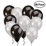 NUOLUX Luftballons,12 Zoll Schwarz Silber Latexballons für Hochzeit Geburtstag feiern,50 Stück