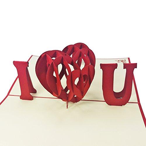 I Heart You-3D Pop-Up-Karte-für Liebe, Valentine, Geburtstagskarte, Hochzeit, Jahrestag