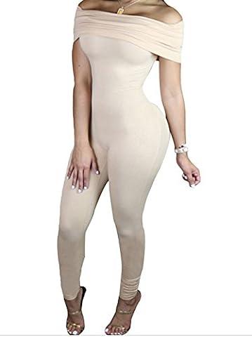 Bling-Bling Dress Women's Nude Form Fitting Off Shoulder Jumpsuit L