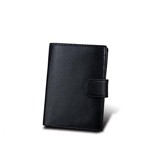 Herren Leder Geldbörse RFID Blocking Soft Kreditkartenetui Kartenetui Zip Pocket Pocket Wallet 2 Sichtbare ID / Foto Fenster 10 Kartensteckplatz 2 Cash Bag Coin Bag Schwarz Retro (Leder-foto-speicher-box)