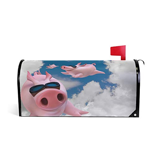 Wamika 3D witziges Schwein Fliegender Wolke Himmel, magnetisch, Briefkasten-Abdeckung, Standardgröße, Makover Mailwrap Garten Home Decor
