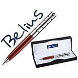 BELIUS BB138 - Boligrafo Belius Copenhague Rojo Lacado Y Plata En Estuche