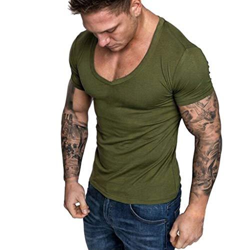 CICIYONER Tshirts Herren Sommer V-Ausschnitt beiläufige dünne Kurzarm T-Shirt Top Bluse Schwarz Grün Rot Blau Grau S M L XL XXL