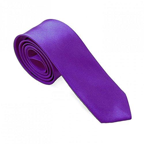 1 Krawatte für Hemd Anzug Schlips Binder Business Schmal Dünn Satin Herren Damen Lila Violett Uni Glänzend (Krawatte Anzug Hemd)