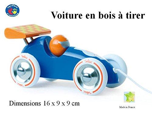 Superbe voiture de course bleue à trainer et à faire rouler - Dès 1 an - Made in France.