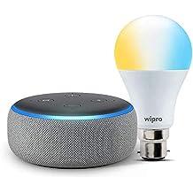 Echo Dot (Grey) bundle with Wipro 9W smart white bulb