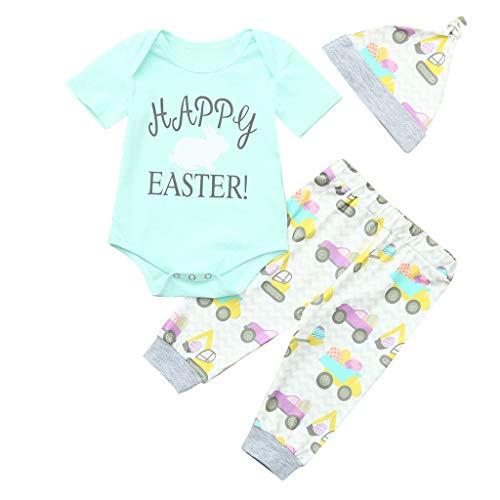 WUSIKY Outfits Infant Baby Ostern Tag Kaninchen Brief Druck Romper + Car Print Hosen + Hut Outfits Elegante Lässige Mode Mädchen Set Kinder Geschenk 2019 Neue Kinder ()