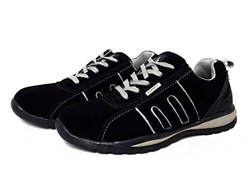 Homme Baskets Chaussures de sécurité bottes de travail avec embout en acier Randonnée Cheville, Grey/Black Suede, 11
