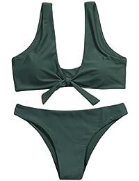 LuckyGirls ❤️• •❤️ Mujer Sexy Push-up Bikini Color Sólido Anudado Vendaje Cabestro Halter Traje de Baño Playa Bikini (L, Verde Militar)