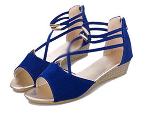 Keil-Sandalen weiblich wasserdicht mit schweren Boden Muffin mit erhöhter Fischkopf Frauen Sandalen Schuhen Blue