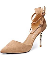 LGK&FA Wedding Shoes Pointed Shoes Fine Heels High Heels Hollow Metal Buckles Single Shoes. Thirty-Seven Light...