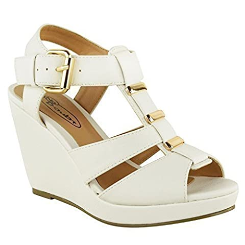 NEW WOMENS LADIES LOW MID HIGH HEEL STRAPPY WEDGES PEEP TOE SANDALS SHOES SIZE (UK 4, White Faux Leather)