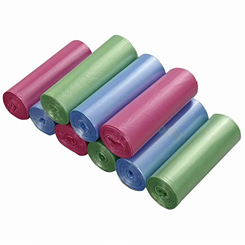 Ordate 5 L Bolsas Basura Sacos de Basura Bolsa de la Basura Pequeñas, Color Verde Azul Rosado, 180...