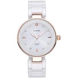 LONGBO Womens Luxury Ceramic Band Business Bangle Watch Rose Gold Case Bracelet Wrist Dress Watches Fashion Rhinestone Crystal Lady Analog Quartz Luminous Hand Big Face Watches