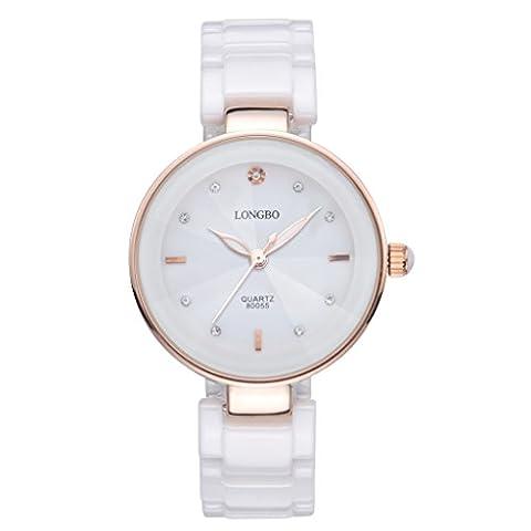 Longbo pour femme de luxe en céramique Band Business Bracelet montre Or rose Coque Robe montres à bracelet Mode Strass Cristal Lady analogique à quartz lumineux à la main Big Face