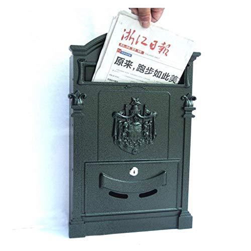 Eeayyygch Briefkasten mit Schloss für den Außenbereich, aus Schmiedeeisen, Retro-Zeitungsbox,...