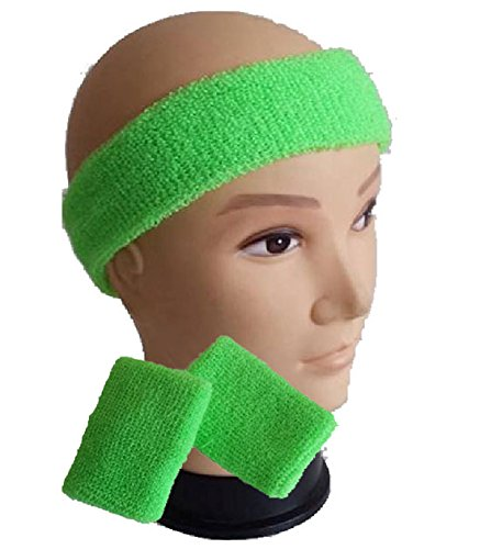 Childrens Kids Neon Headband Sweatband & Wristbands in 8 Colours