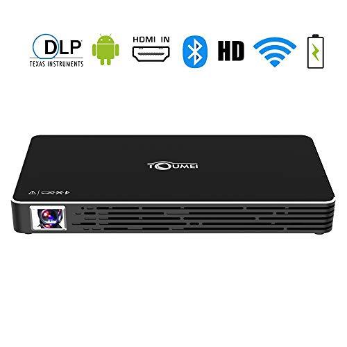 Mini Beamer, TOUMEI C800S Mini Projektor, Tragbarer Android 7.1 DLP Videoprojektor, Kompatibel mit USB TF-Karte für Heimkino / Laptop / iPhone / Android Smartphone,Schwarz (Mini-video-beam Projektor)