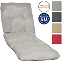 Beautissu Sun-Lounger Pad Cushion Flair RL 190 x 60 x 8 cm Cushion for Garden Sun Bed Relaxer Recliner Steamer Colour Light Grey